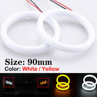 2x 90MM COB Angel Eyes Halo Rings LED DRL White Headlight Light Amber Turn Lamp