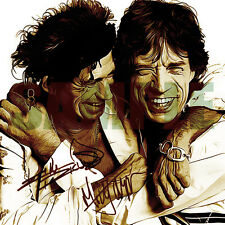 Rolling Stones Art Print Autograph 8x8 inches. Mick Jagger & Keith Richards.