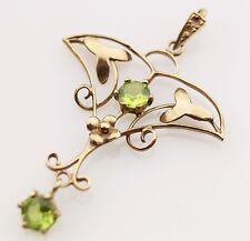 9ct Gold Pendant Art Nouveau Style Look Peridot Jewellery 9 Carat 9K #2 Green
