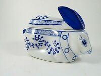 Blue & White Chinese Pottery Porcelain Bunny Rabbit Trinket Box Hand Painted