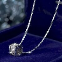 18k white gold made with Swarovski crystal thread spindle love pendant necklace