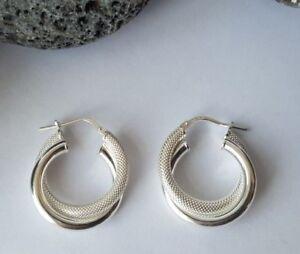 Sterling Silver Fancy Creole Hoop Twist Earrings 4.7g NEW Wife BFF Xmas Gift 925