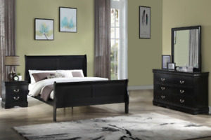 NEW Queen King 4PC Black Classic Sleigh Bedroom Set Modern Traditional Bed/D/M/N