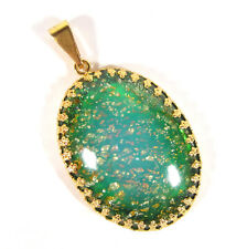 SoHo® Anhänger groß oval vintage bohemia grün gold böhmisches Glas 60er Jahre
