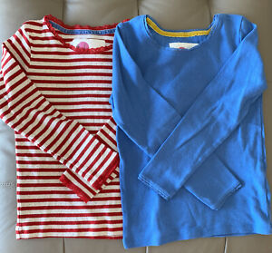 Mini Boden Girls Long Sleeve Pointelle Shirt Top Size 7-8 Y Lot of 2