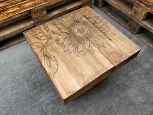 Wooden Coffee Table Personalised Engraved Thick Rustic Handmade Solid Wood