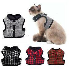 Cat Harness Soft Padded Light Red Tartan black Chequred Gingham Puppy Dog Pets