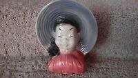 Asian Oriental Japanese Girl Planter Vase Wall Pocket Crazing Vtg. Royal Copley