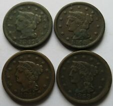 1847/48/51/53 Braided Hair Large Cents, 4 Vintage Penny 1C coins