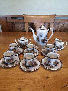Kutani Coffee/Tea Set With Geisha Girl in Cups