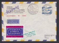 SWEDEN 1962 SIGNED CINDERELLA FLIGHT COVER & SCHEDULE STOCKHOLM TO TUREBERG