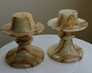Impressive Pair of Onyx Marble Candlesticks, Beautiful Design, matching pair.