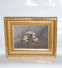 Victorian American Oil on Panel Apple Blossom Painting in Period Frame
