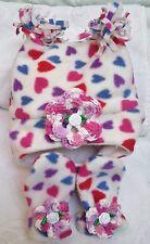 PINK WHITE HEARTS FLEECE HAT MITTENS SET 3 6 12 MONTHS GIRLS BABY INFANT NEWBORN