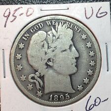 1895-O  VG  Barber Half Dollar  LY and part of T   Nice Wreath   Better Date #1
