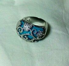 Pamela Anderson Turquoise Blue Scrolled Sterling Silver White Topaz Dome Ring  7