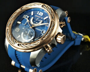 Invicta Men's 54mm Bolt Chronograph Blue Dial Rose Gold Cable Wire Bezel Watch