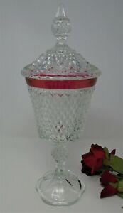"""Indiana Diamond Point Very Tall Candy Dish on a Pedestal with Lid, 16"""""""