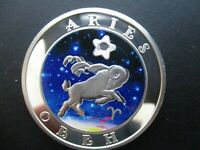 2008 Armenia   Large Silver Color Proof 100 Dram cubic Zirconia Zodiac  ARIES
