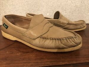 VINTAGE BASS TAN LEATHER LOAFERS•USA-Men 9.5 Boat Deck Dress Shoe Casual Penny