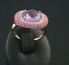 Ring rose Gold 585 Brillanten diamonds pink Saphir Amethyst Gr 52 wunderschön