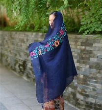 Womens Large Embroidered Cotton Linen Floral Scarf Pashmina Wrap Shawl Scarves