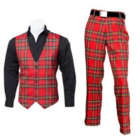 New Scottish Tartan Trews and Waistcoat Bundle - Royal Stewart - Choose Size