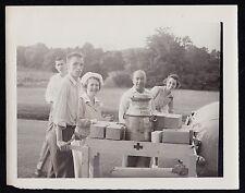 Antique Vintage Photograph Men w/ Red Cross Nurses Pushing Supply Cart in Park