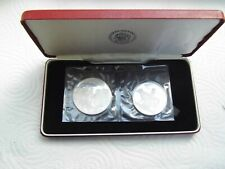 More details for iceland 1974 silver proof 2 coin set. 50gms sterling silver.