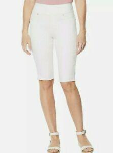 DG2 Diane Gilman Stretch Pull-On Bermuda Short Basic Ivory white size 1X