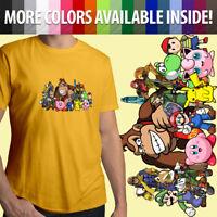 Super Smash Bros Yoshi Mario Pokemon Pikachu Link Unisex Mens Tee Crew T-Shirt