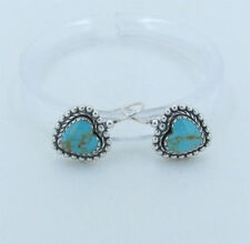 PETITE 925 Sterling Silver Natural HIGH GRADE ROYSTON Turquoise Heart Earrings