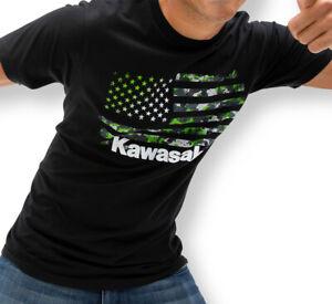 Kawasaki Camo Flag T-Shirt - Size - Large - Genuine Kawasaki - Brand New