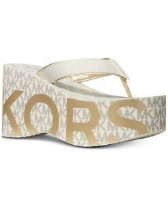 MICHAEL Michael Kors Benny Flip-Flop Wedge Sandals Gold Multi Women's Size 9