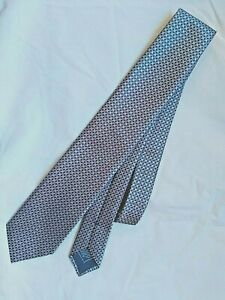 Brioni Silk Neck Tie Ice Blue Mini Check Made in Italy NWOT