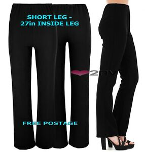 Womens 27inch SHORT LEG BLACK Trousers Nurse Work Carer Stretch Elasticated Pant
