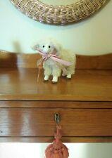 "Sheep Lamb White With Pink Ribbon Decorative Cotton Sweet Figurine 7"" x 6"" New"