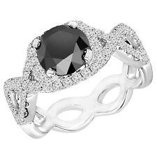 2.41 Ct Black Round Diamond Halo Engagement Ring 14K White Gold
