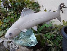 Pêche, pêche à la mouche, statuette truite céramique 1940 blanc perler Sèvres ?
