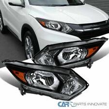 For Honda 16-18 HR-V HRV Pearl Black Halogen Headlights Head Lamps Left+Right