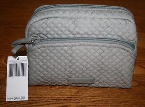 Vera Bradley Iconic Medium Cosmetic Bag case Denim Gray travel RARE New Retired