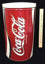 """Coca Cola Coke Can Shaped Tin Container Metal Round Soda Red White Silver 13.5"""""""