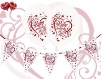 Bundle 40th Ruby Anniversary White Balloons Set of 5 Themed+ Bunting Banner 12ft