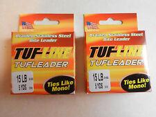 Tuf Line Tufleader;  Braided SS Bite Leader;  15 Lb;  5 Yards;  2 Pack;  SL85MT