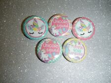 "Unicorn Squad Rainow Cabochon 1"" Craft Circles Flat-back Button Embellishments"