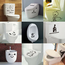 Hot Sale! Toilet Seat Stickers Removable Vinyl Wall Bathroom Decal Home Decor