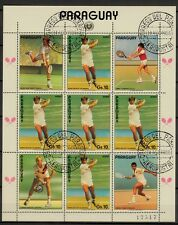 Kleinbogen  Paraguay 1986 MiNr.  3963  Tennis , Boris Becker schwarzer Aufdruck