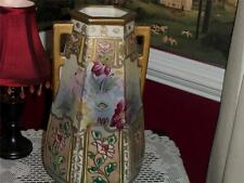 "HAND PAINTED VNTG. VASE DOUBLE HANDLE W/RELIEF MARKING ""M.M"" ? JAPAN"