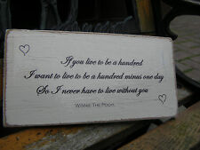 Shabby Chic Winnie The Pooh Quote Plaque. Wedding Gift Sign.100% Solid Wood. #1