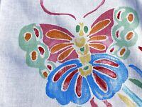 SALE 2YDS 1970's Bohemian Butterflies Barkcloth Era Vintage Fabric Yardage Boho